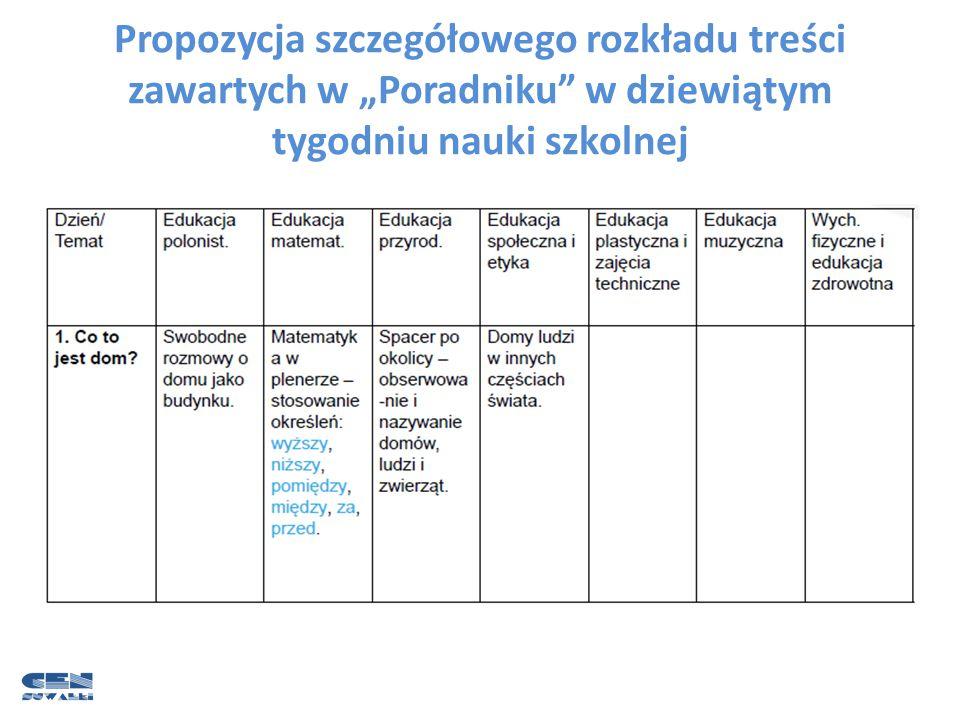 """Propozycja szczegółowego rozkładu treści zawartych w """"Poradniku"""" w dziewiątym tygodniu nauki szkolnej"""