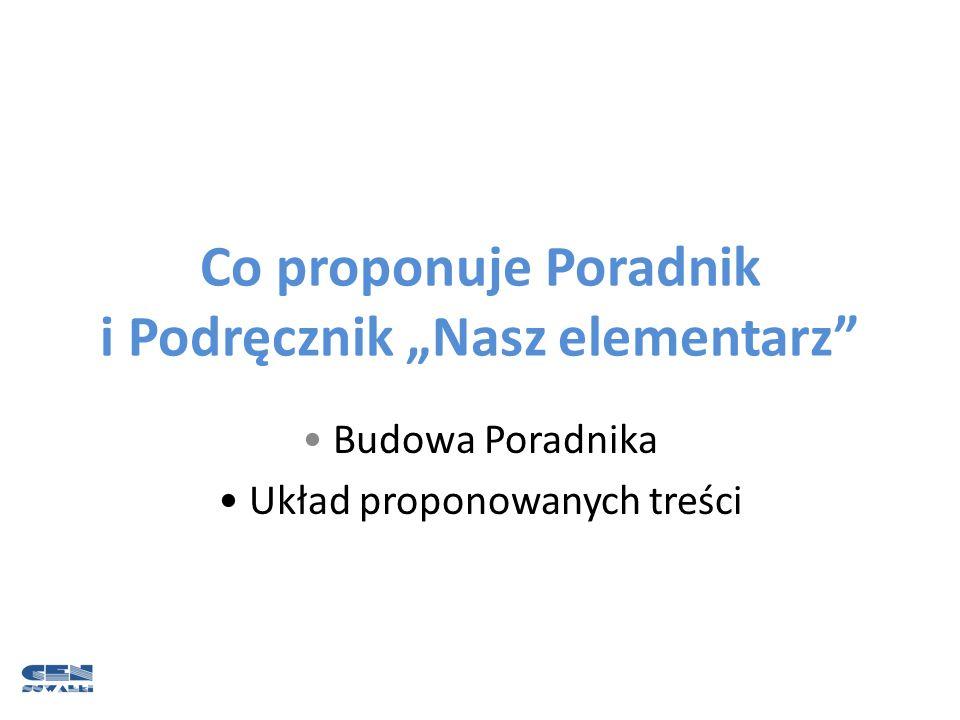 """Co proponuje Poradnik i Podręcznik """"Nasz elementarz"""" Budowa Poradnika Układ proponowanych treści"""