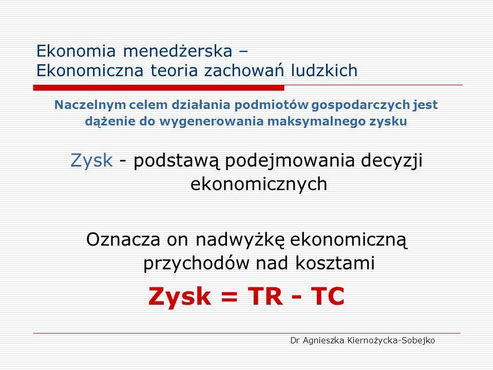 Ekonomia menedżerska – Ekonomiczna teoria zachowań ludzkich Naczelnym celem działania podmiotów gospodarczych jest dążenie do wygenerowania maksymalne
