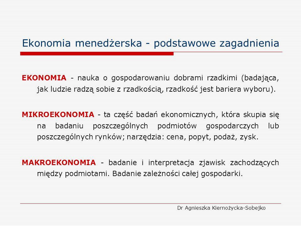 Ekonomia menedżerska - podstawowe zagadnienia EKONOMIA - nauka o gospodarowaniu dobrami rzadkimi (badająca, jak ludzie radzą sobie z rzadkością, rzadk