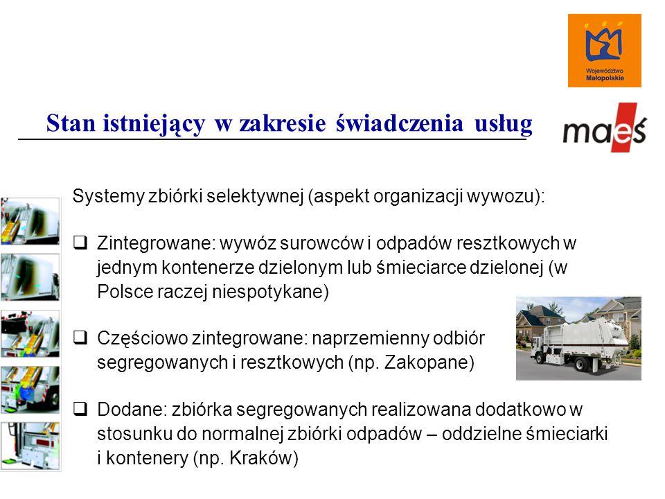 Systemy zbiórki selektywnej (aspekt organizacji wywozu):  Zintegrowane: wywóz surowców i odpadów resztkowych w jednym kontenerze dzielonym lub śmieciarce dzielonej (w Polsce raczej niespotykane)  Częściowo zintegrowane: naprzemienny odbiór segregowanych i resztkowych (np.