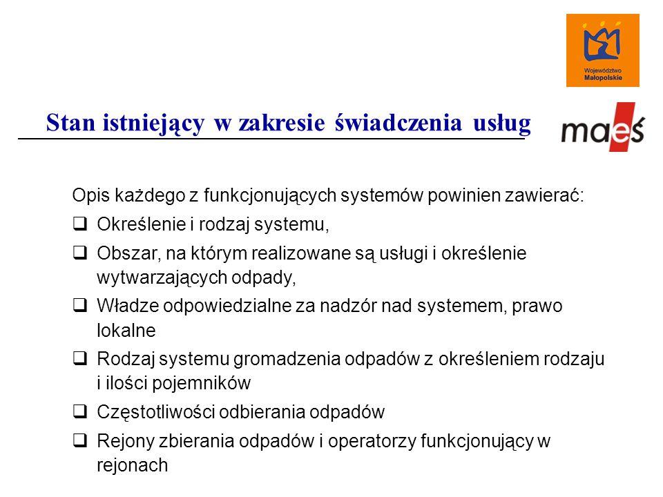 Opis każdego z funkcjonujących systemów powinien zawierać:  Określenie i rodzaj systemu,  Obszar, na którym realizowane są usługi i określenie wytwarzających odpady,  Władze odpowiedzialne za nadzór nad systemem, prawo lokalne  Rodzaj systemu gromadzenia odpadów z określeniem rodzaju i ilości pojemników  Częstotliwości odbierania odpadów  Rejony zbierania odpadów i operatorzy funkcjonujący w rejonach Stan istniejący w zakresie świadczenia usług