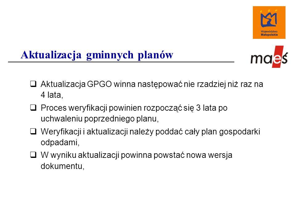  Aktualizacja GPGO winna następować nie rzadziej niż raz na 4 lata,  Proces weryfikacji powinien rozpocząć się 3 lata po uchwaleniu poprzedniego planu,  Weryfikacji i aktualizacji należy poddać cały plan gospodarki odpadami,  W wyniku aktualizacji powinna powstać nowa wersja dokumentu, Aktualizacja gminnych planów