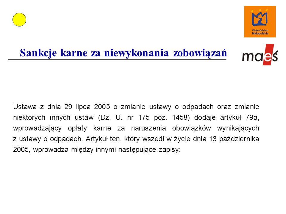 Sankcje karne za niewykonania zobowiązań Ustawa z dnia 29 lipca 2005 o zmianie ustawy o odpadach oraz zmianie niektórych innych ustaw (Dz.