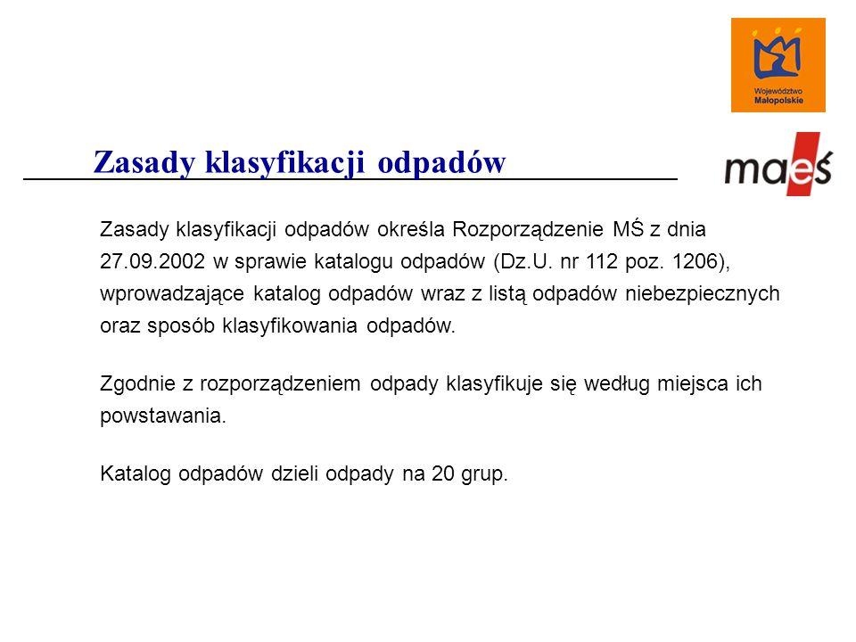 Zasady klasyfikacji odpadów określa Rozporządzenie MŚ z dnia 27.09.2002 w sprawie katalogu odpadów (Dz.U.