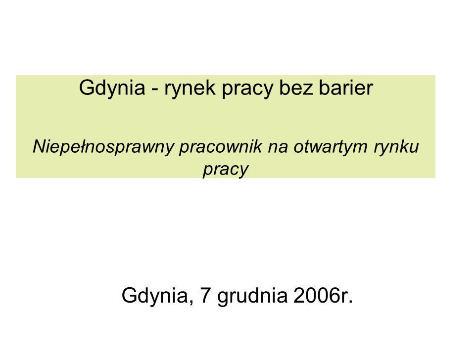 Gdynia - rynek pracy bez barier Niepełnosprawny pracownik na otwartym rynku pracy Gdynia, 7 grudnia 2006r.