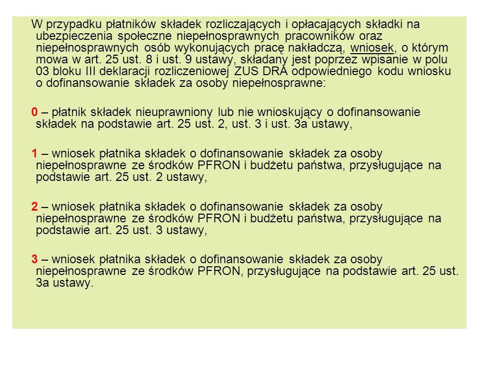 W przypadku płatników składek rozliczających i opłacających składki na ubezpieczenia społeczne niepełnosprawnych pracowników oraz niepełnosprawnych osób wykonujących pracę nakładczą, wniosek, o którym mowa w art.
