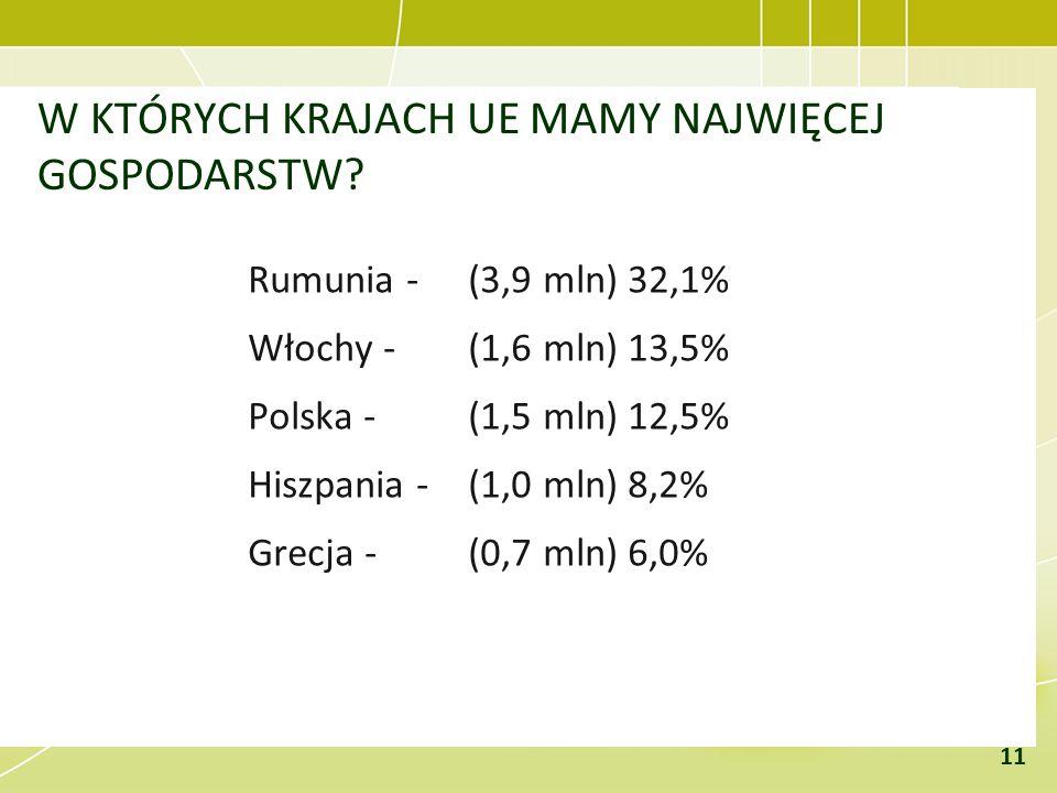W KTÓRYCH KRAJACH UE MAMY NAJWIĘCEJ GOSPODARSTW? Rumunia - (3,9 mln) 32,1% Włochy - (1,6 mln) 13,5% Polska - (1,5 mln) 12,5% Hiszpania - (1,0 mln) 8,2