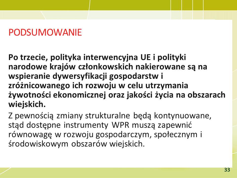 PODSUMOWANIE Po trzecie, polityka interwencyjna UE i polityki narodowe krajów członkowskich nakierowane są na wspieranie dywersyfikacji gospodarstw i