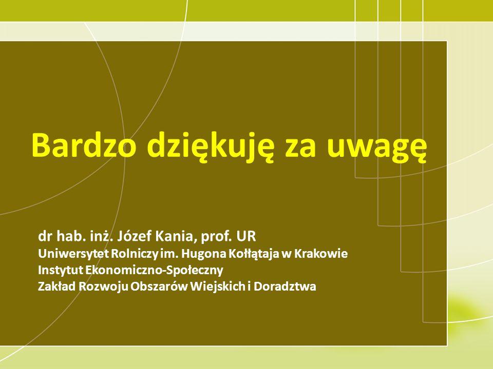 Bardzo dziękuję za uwagę dr hab. inż. Józef Kania, prof. UR Uniwersytet Rolniczy im. Hugona Kołłątaja w Krakowie Instytut Ekonomiczno-Społeczny Zakład