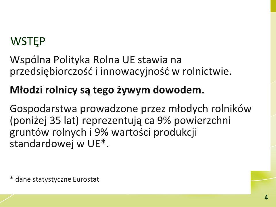 WSTĘP Wspólna Polityka Rolna UE stawia na przedsiębiorczość i innowacyjność w rolnictwie. Młodzi rolnicy są tego żywym dowodem. Gospodarstwa prowadzon