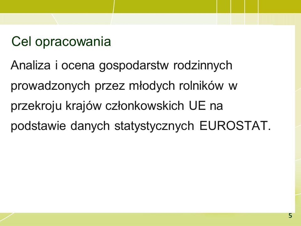 Cel opracowania Analiza i ocena gospodarstw rodzinnych prowadzonych przez młodych rolników w przekroju krajów członkowskich UE na podstawie danych sta