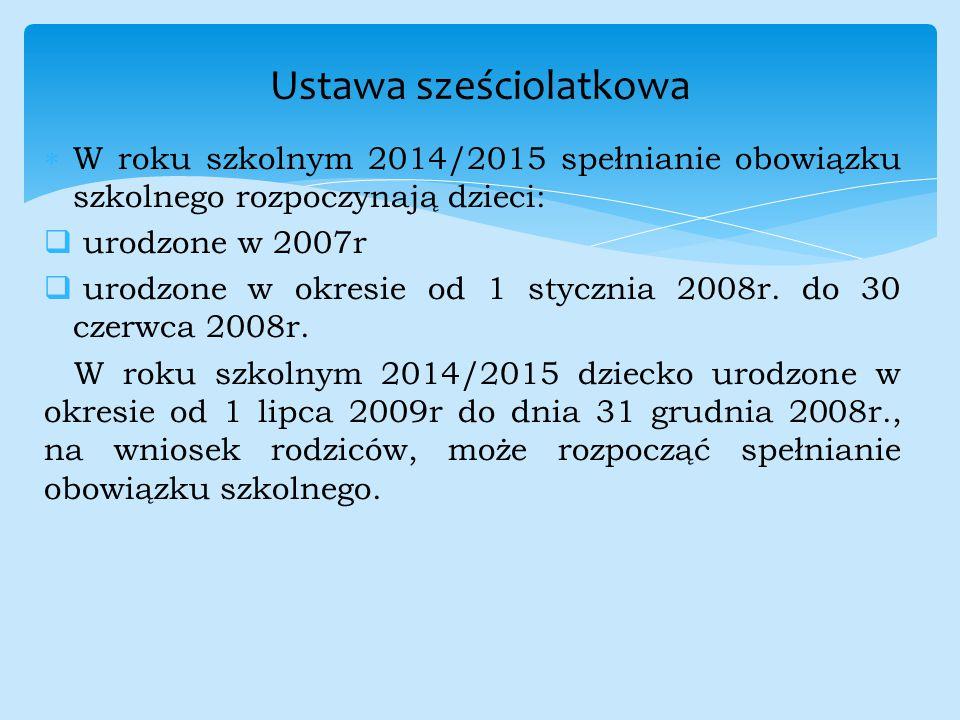  W roku szkolnym 2014/2015 spełnianie obowiązku szkolnego rozpoczynają dzieci:  urodzone w 2007r  urodzone w okresie od 1 stycznia 2008r. do 30 cze