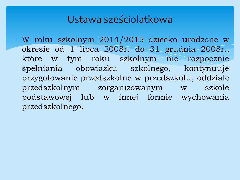  W roku szkolnym 2014/2015 dziecko urodzone w okresie od 1 lipca 2008r. do 31 grudnia 2008r., które w tym roku szkolnym nie rozpocznie spełniania obo