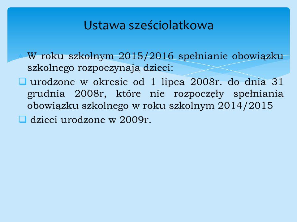  W roku szkolnym 2015/2016 spełnianie obowiązku szkolnego rozpoczynają dzieci:  urodzone w okresie od 1 lipca 2008r. do dnia 31 grudnia 2008r, które
