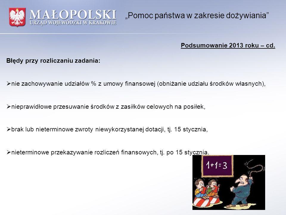"""""""Pomoc państwa w zakresie dożywiania Podsumowanie 2013 roku – cd."""