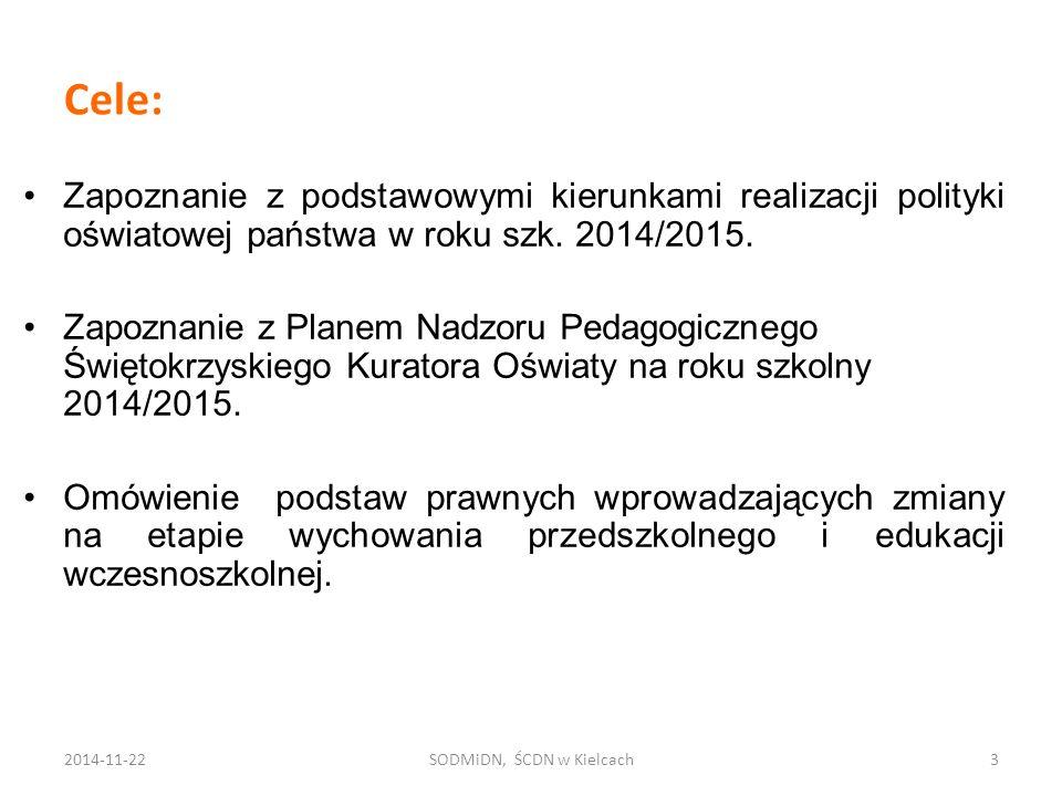 Cele: Zapoznanie z podstawowymi kierunkami realizacji polityki oświatowej państwa w roku szk. 2014/2015. Zapoznanie z Planem Nadzoru Pedagogicznego Św
