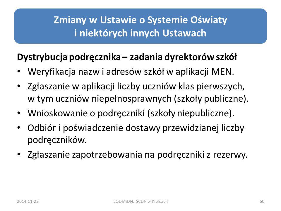 2014-11-22SODMiDN, ŚCDN w Kielcach60 Zmiany w Ustawie o Systemie Oświaty i niektórych innych Ustawach Dystrybucja podręcznika – zadania dyrektorów szkół Weryfikacja nazw i adresów szkół w aplikacji MEN.