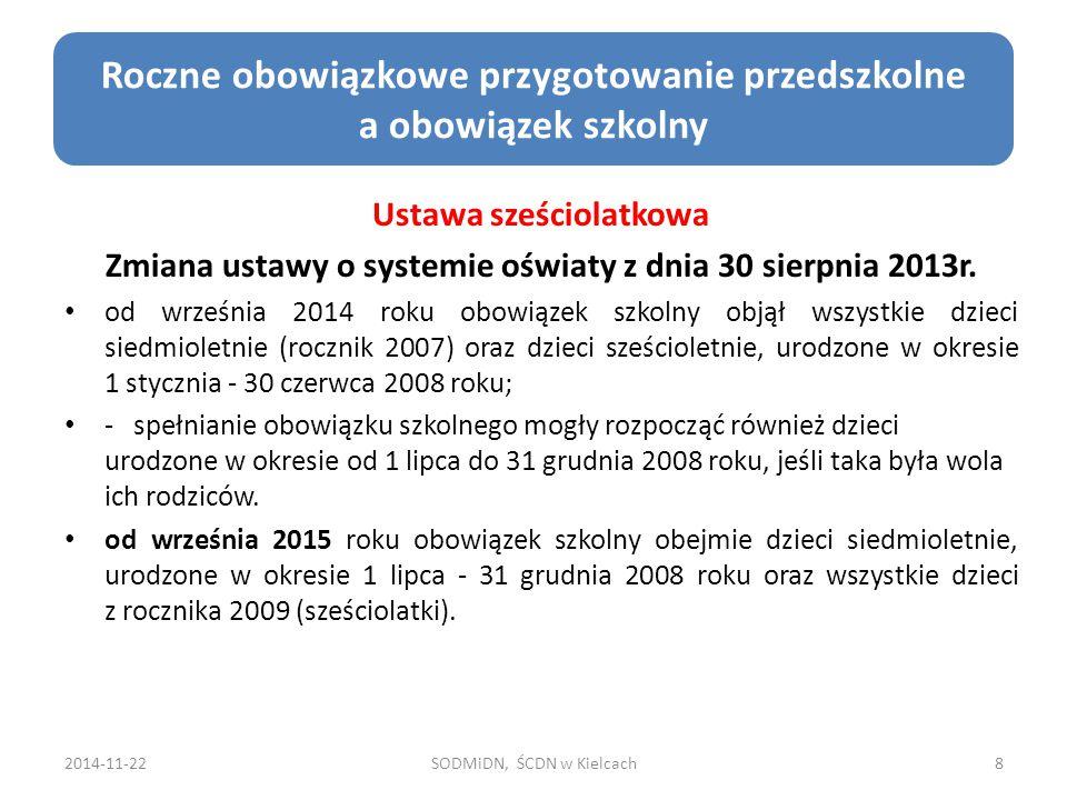 2014-11-22SODMiDN, ŚCDN w Kielcach59 Zmiany w Ustawie o Systemie Oświaty i niektórych innych Ustawach Podręcznik