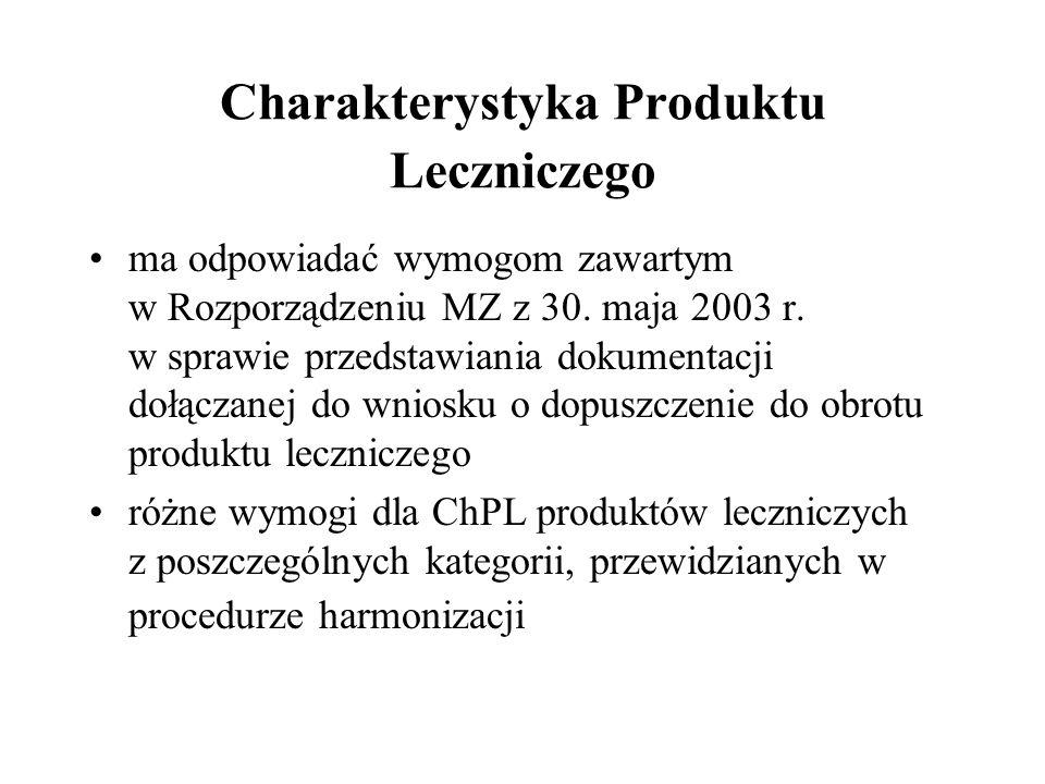 Charakterystyka Produktu Leczniczego ma odpowiadać wymogom zawartym w Rozporządzeniu MZ z 30. maja 2003 r. w sprawie przedstawiania dokumentacji dołąc