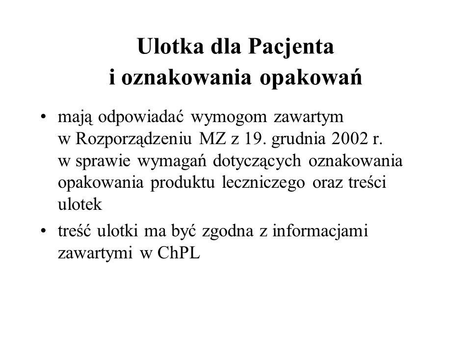 Ulotka dla Pacjenta i oznakowania opakowań mają odpowiadać wymogom zawartym w Rozporządzeniu MZ z 19. grudnia 2002 r. w sprawie wymagań dotyczących oz