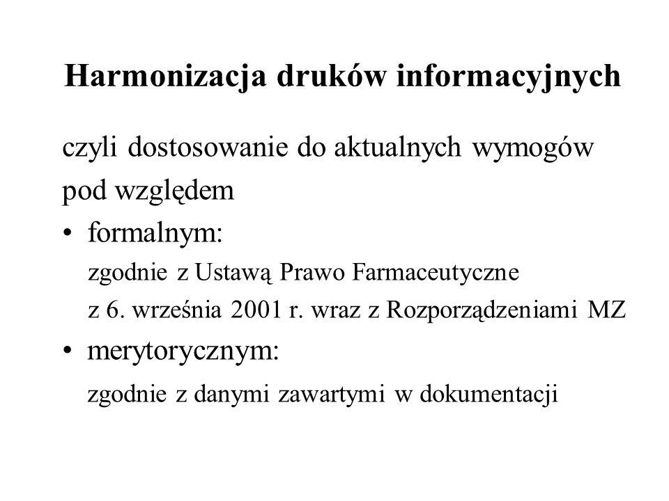Harmonizacja druków informacyjnych czyli dostosowanie do aktualnych wymogów pod względem formalnym: zgodnie z Ustawą Prawo Farmaceutyczne z 6. wrześni