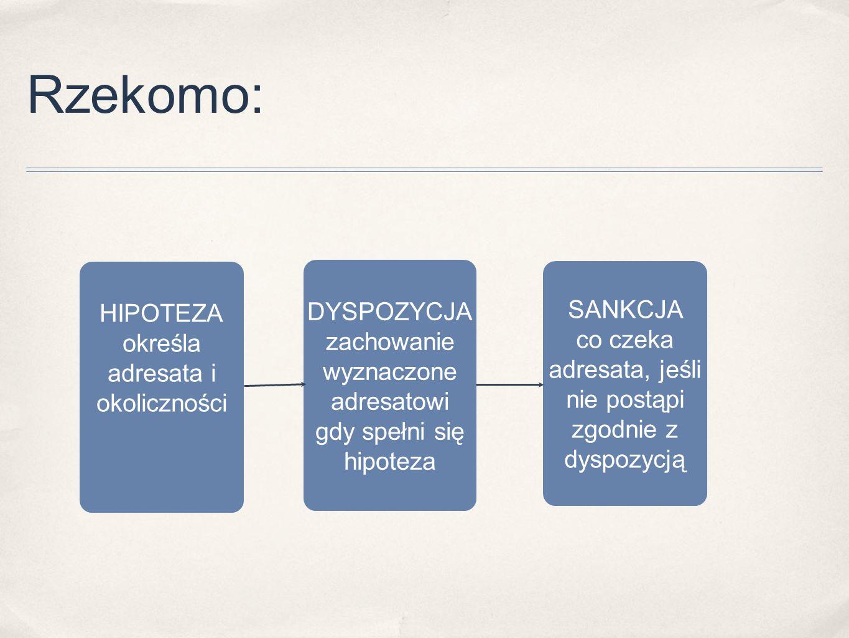 Rzekomo: HIPOTEZA określa adresata i okoliczności DYSPOZYCJA zachowanie wyznaczone adresatowi gdy spełni się hipoteza SANKCJA co czeka adresata, jeśli
