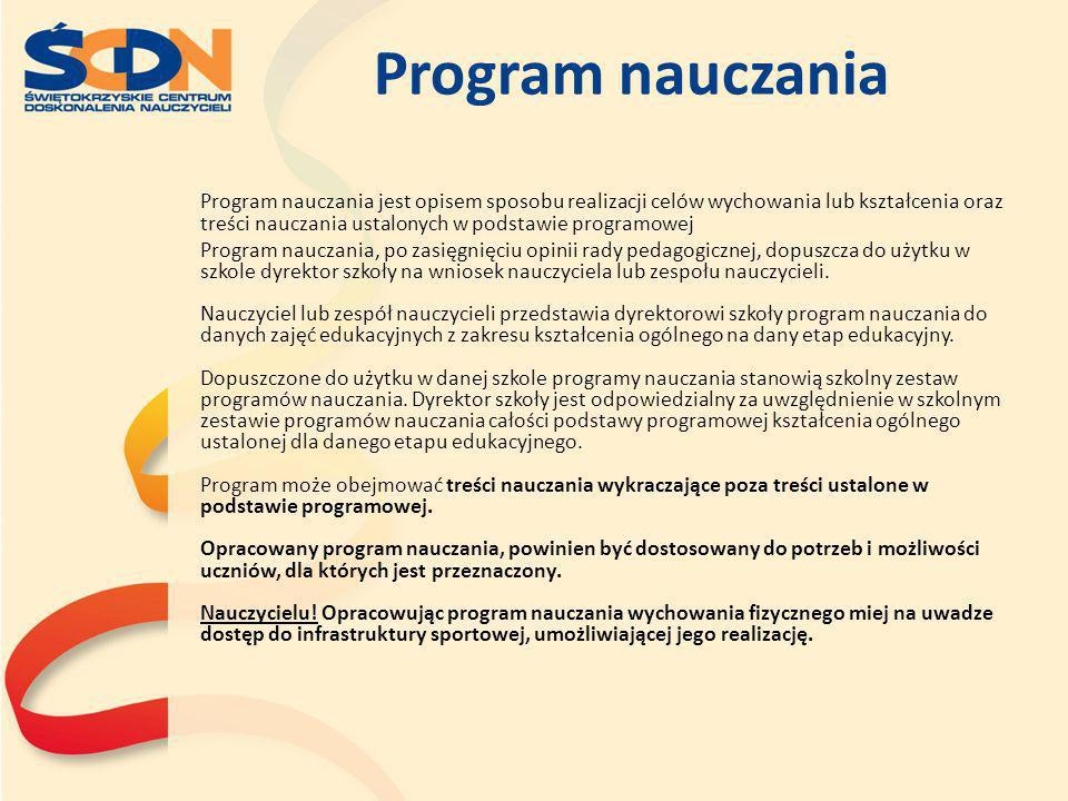 Program nauczania Program nauczania jest opisem sposobu realizacji celów wychowania lub kształcenia oraz treści nauczania ustalonych w podstawie progr