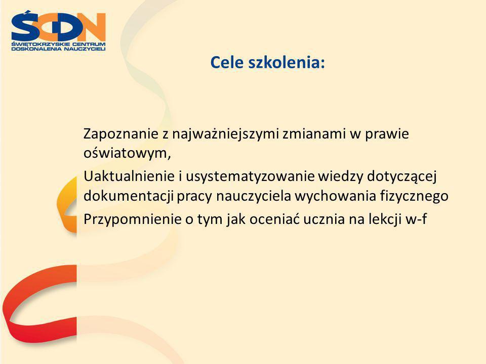 Obszary Oceny –Ewa Czerska Systematyczność udziału w zajęciach – wdrażanie do systematycznego podejmowania aktywności ruchowej zarówno w aspekcie wychowawczym jak i zdrowotnym.