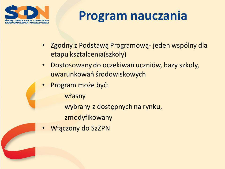 Program nauczania Zgodny z Podstawą Programową- jeden wspólny dla etapu kształcenia(szkoły) Dostosowany do oczekiwań uczniów, bazy szkoły, uwarunkowań
