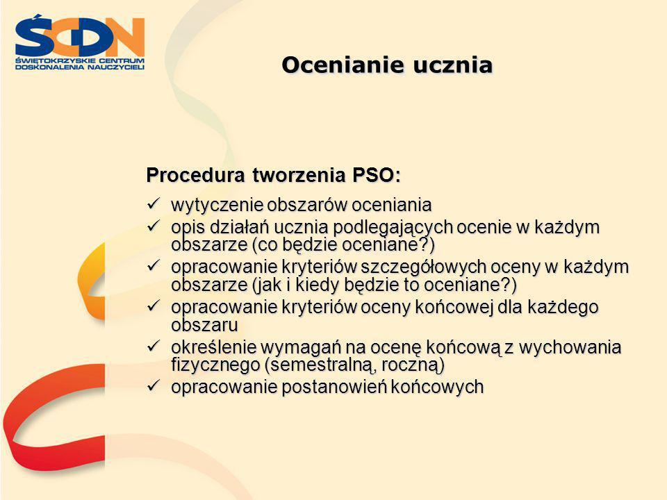 Ocenianie ucznia Procedura tworzenia PSO: wytyczenie obszarów oceniania wytyczenie obszarów oceniania opis działań ucznia podlegających ocenie w każdy