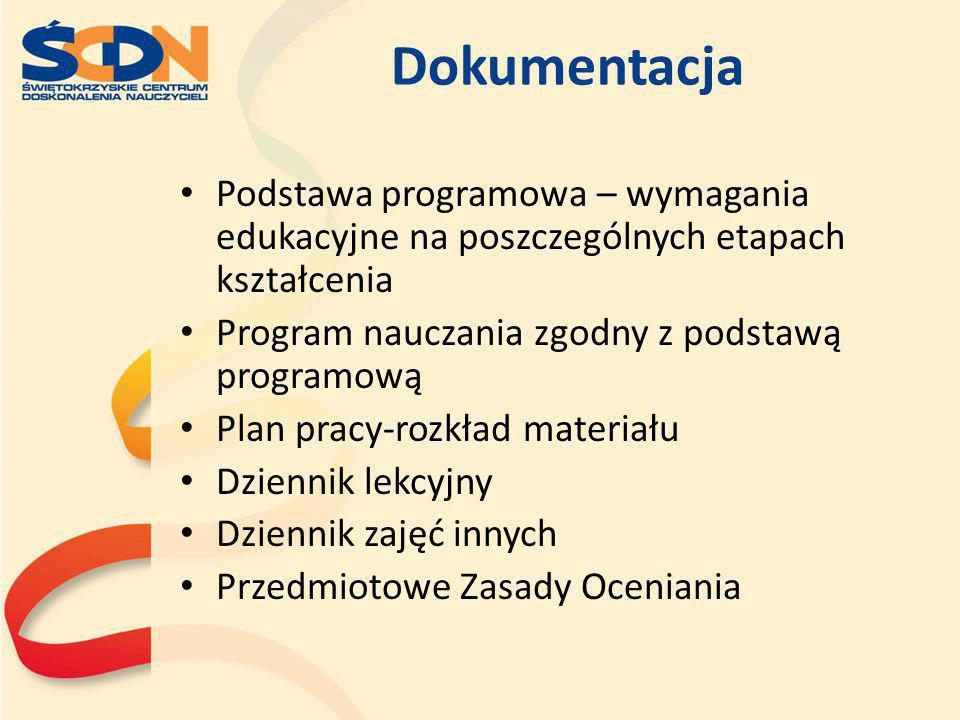 Dokumentacja Podstawa programowa – wymagania edukacyjne na poszczególnych etapach kształcenia Program nauczania zgodny z podstawą programową Plan prac