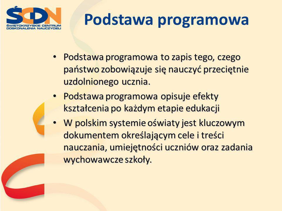 Podstawa programowa Podstawa programowa to zapis tego, czego państwo zobowiązuje się nauczyć przeciętnie uzdolnionego ucznia. Podstawa programowa to z