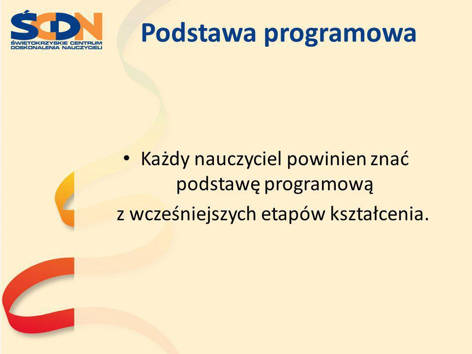 Podstawa programowa Każdy nauczyciel powinien znać podstawę programową z wcześniejszych etapów kształcenia.