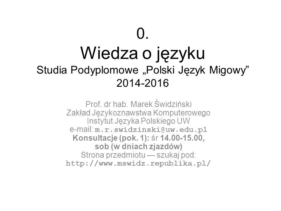"""0. Wiedza o języku Studia Podyplomowe """"Polski Język Migowy"""" 2014-2016 Prof. dr hab. Marek Świdziński Zakład Językoznawstwa Komputerowego Instytut Języ"""
