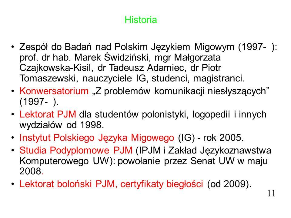 Historia Zespół do Badań nad Polskim Językiem Migowym (1997- ): prof. dr hab. Marek Świdziński, mgr Małgorzata Czajkowska-Kisil, dr Tadeusz Adamiec, d