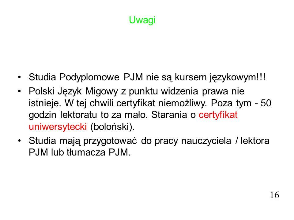 Uwagi Studia Podyplomowe PJM nie są kursem językowym!!! Polski Język Migowy z punktu widzenia prawa nie istnieje. W tej chwili certyfikat niemożliwy.