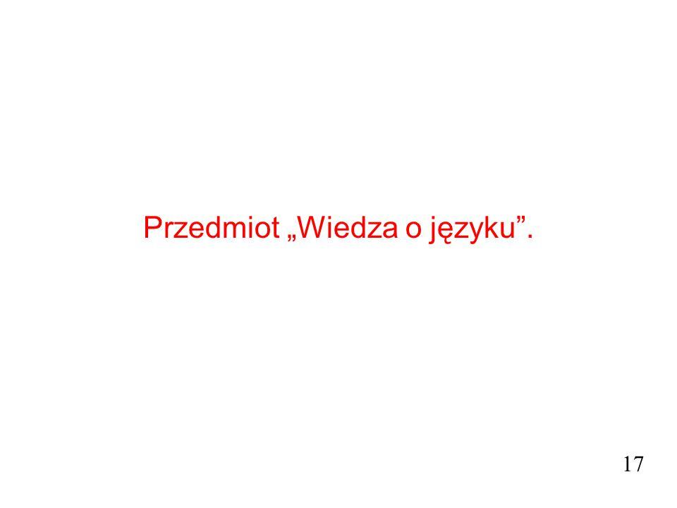 """Przedmiot """"Wiedza o języku"""". 17"""