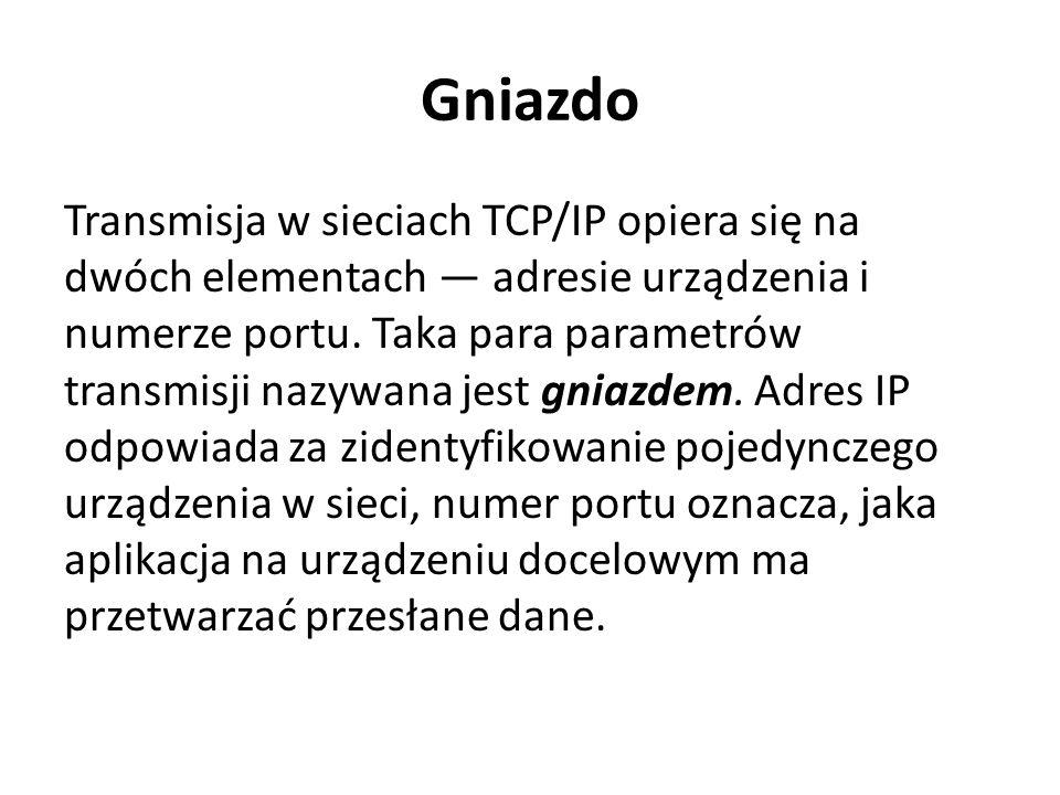 Gniazdo Transmisja w sieciach TCP/IP opiera się na dwóch elementach — adresie urządzenia i numerze portu. Taka para parametrów transmisji nazywana jes