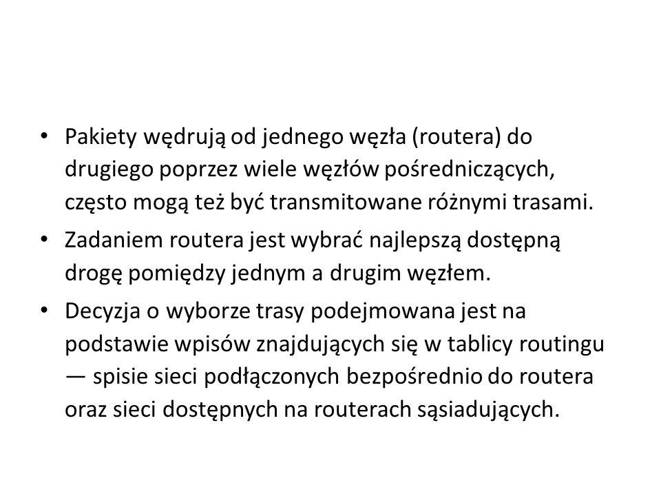 Tablica routingu i routing Tablica routingu może być utworzona przez administratora lub dynamicznie, przez protokoły routingu (nie mylić z protokołami rutowalnymi).