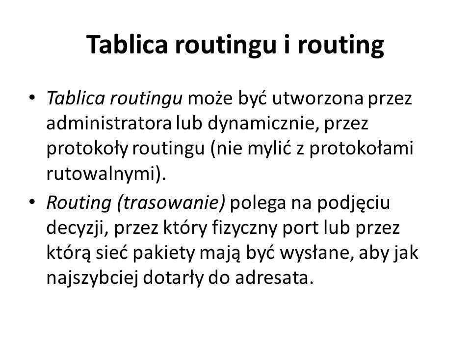 Tablica routingu i routing Każdy wpis w tablicy routingu zawiera adres sieci docelowej oraz adres sieci lub interfejsu, przez który dana sieć docelowa jest osiągalna.