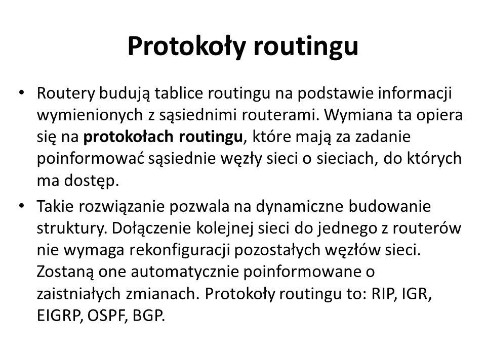 Protokoły routingu Routery budują tablice routingu na podstawie informacji wymienionych z sąsiednimi routerami. Wymiana ta opiera się na protokołach r