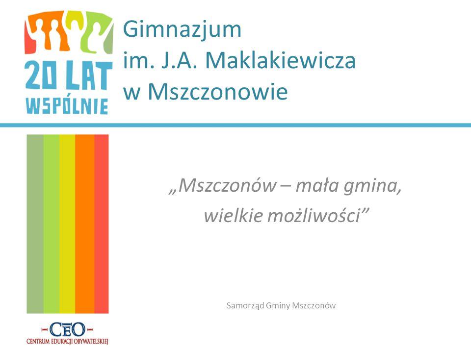 """Gimnazjum im. J.A. Maklakiewicza w Mszczonowie """"Mszczonów – mała gmina, wielkie możliwości"""" Samorząd Gminy Mszczonów"""