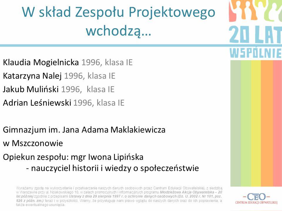 Klaudia Mogielnicka 1996, klasa IE Katarzyna Nalej 1996, klasa IE Jakub Muliński 1996, klasa IE Adrian Leśniewski 1996, klasa IE Gimnazjum im. Jana Ad