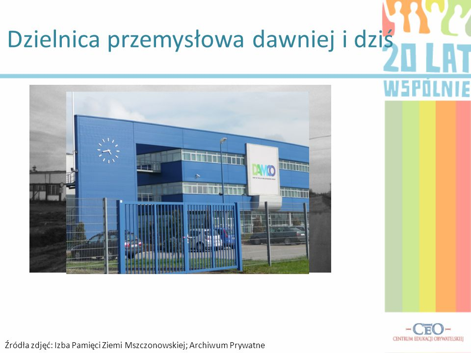 Dzielnica przemysłowa dawniej i dziś Źródła zdjęć: Izba Pamięci Ziemi Mszczonowskiej; Archiwum Prywatne
