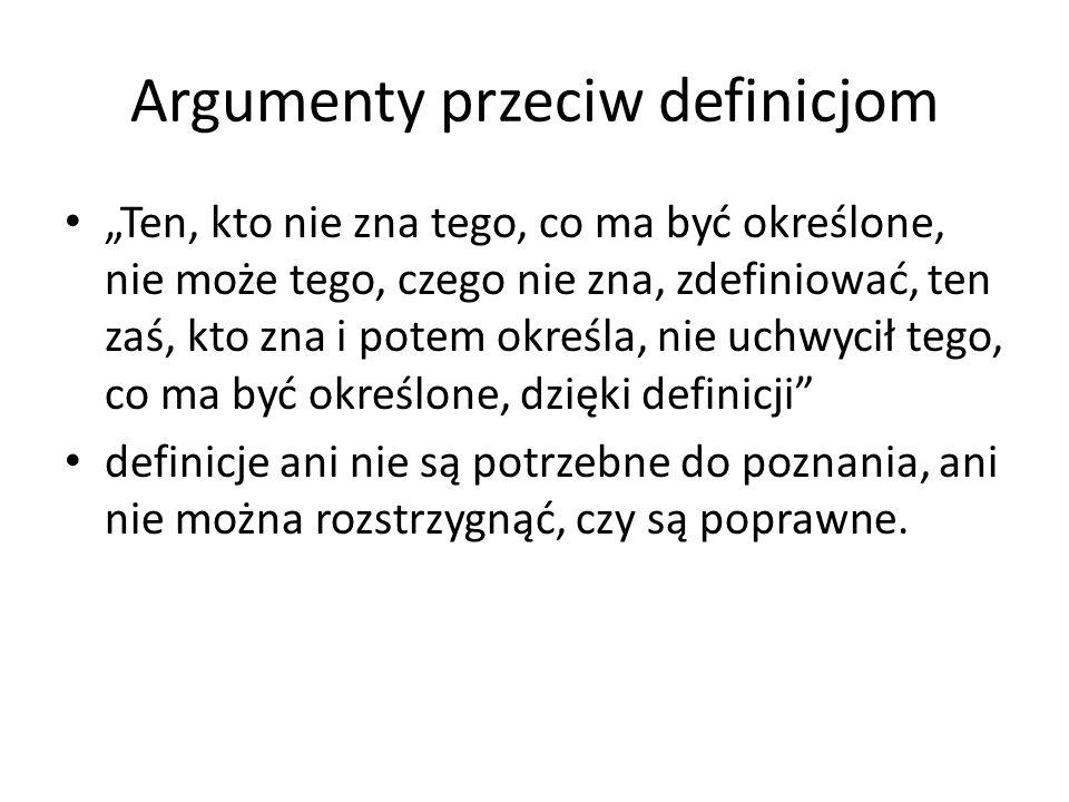 """Argumenty przeciw definicjom """"Ten, kto nie zna tego, co ma być określone, nie może tego, czego nie zna, zdefiniować, ten zaś, kto zna i potem określa,"""