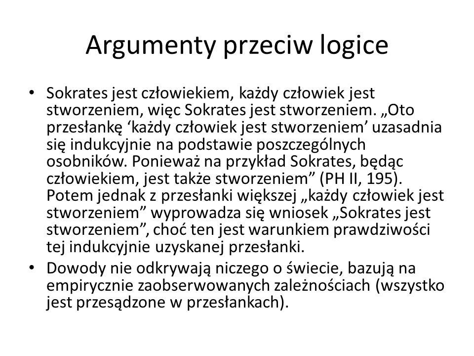 """Argumenty przeciw logice Sokrates jest człowiekiem, każdy człowiek jest stworzeniem, więc Sokrates jest stworzeniem. """"Oto przesłankę 'każdy człowiek j"""