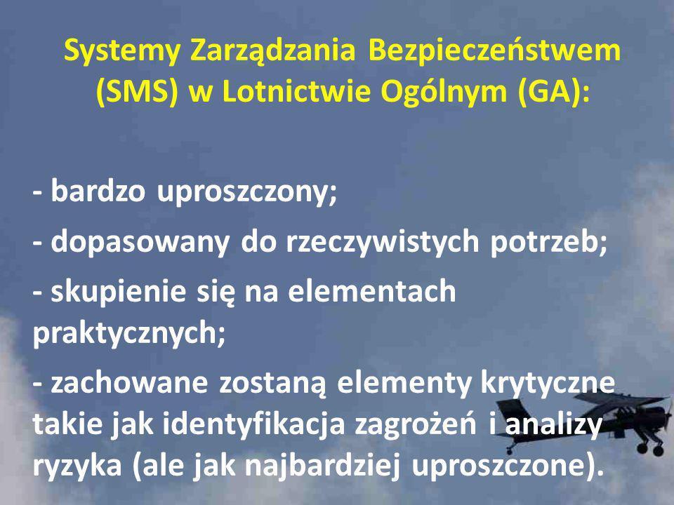 Systemy Zarządzania Bezpieczeństwem (SMS) w Lotnictwie Ogólnym (GA): - bardzo uproszczony; - dopasowany do rzeczywistych potrzeb; - skupienie się na e