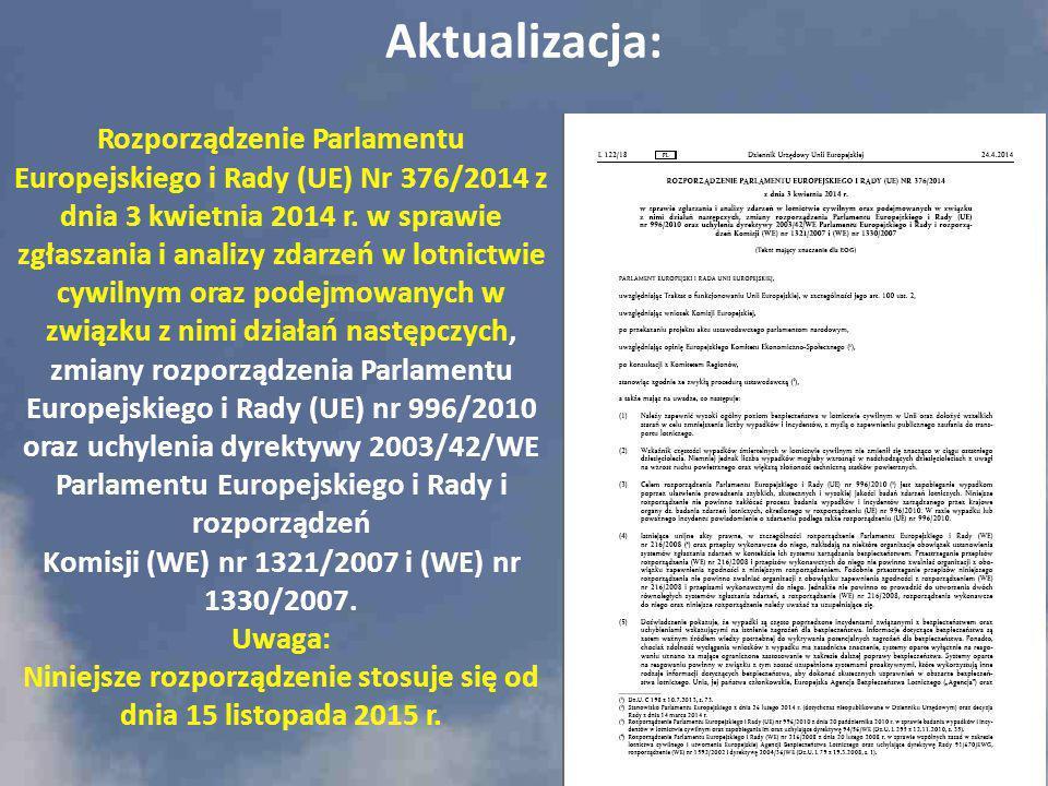 Rozporządzenie Parlamentu Europejskiego i Rady (UE) Nr 376/2014 z dnia 3 kwietnia 2014 r. w sprawie zgłaszania i analizy zdarzeń w lotnictwie cywilnym
