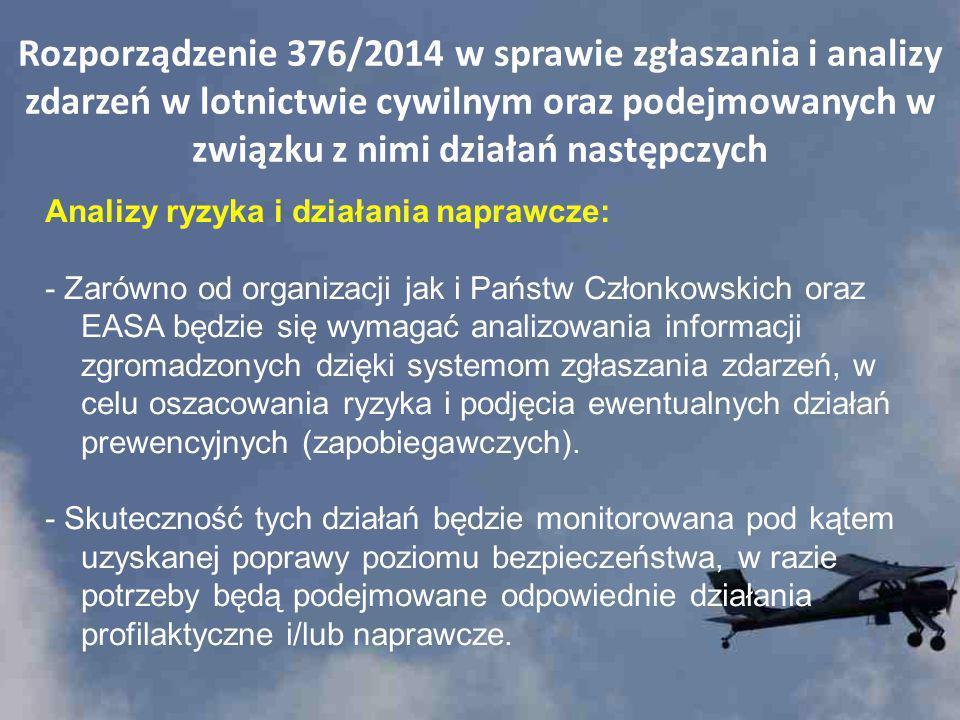 Rozporządzenie 376/2014 w sprawie zgłaszania i analizy zdarzeń w lotnictwie cywilnym oraz podejmowanych w związku z nimi działań następczych Analizy r